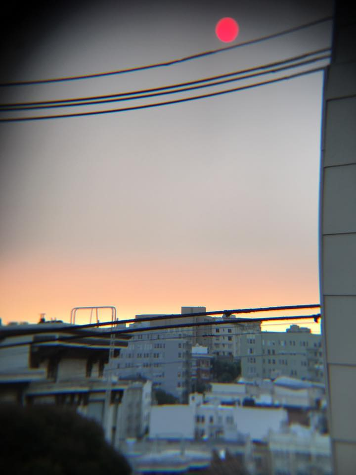 Red sun over San Francisco