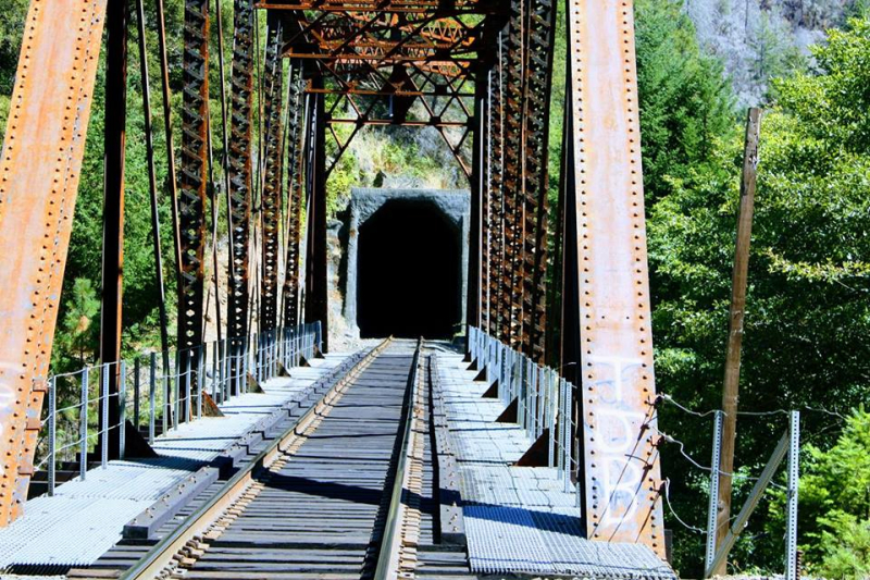 Trestle and tunnel along Cow Creek  south of Riddle