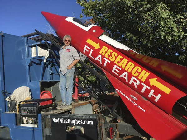 Mad Mike Hughes with steam-powered rocket to prove Earth is flat