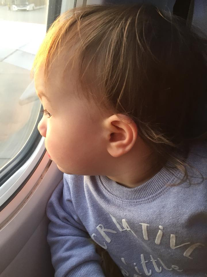 K on her first flight 1