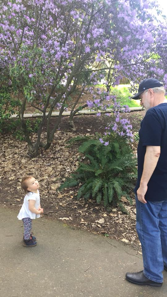 Pops  look at the flowers