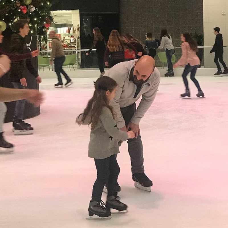 Neighbor ice skating